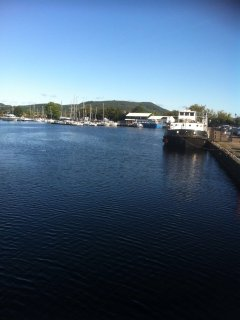 View of Caledonian Canal marina from the Muirtown Bridge.