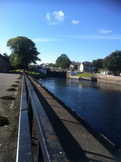 View of Muirtown Locks on the Caledonian Canal from the Muirtown Swing Bridge.