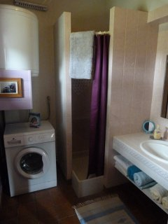 The bathroom showing shower cubicle, Vanity Unit etc