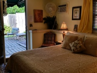 Garden Terrace room has outside private entrances, private patio. Covid safe.