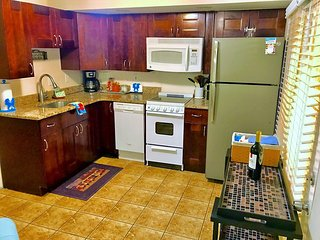 Brand new designer kitchen stocked with spices, oil, etc,
