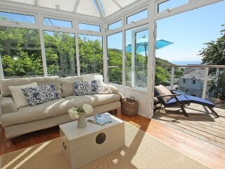 PORTHCURNO BAY VIEW, part of former hotel, dazzling sea views, chic interior, w