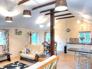 BROOK COTTAGE modern, dog friendly bungalow, sunny patio, meadows, walk to the v