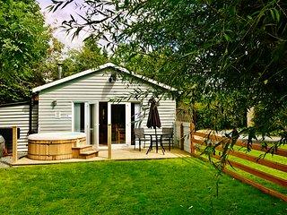 TY NEWYDD BACH, detached chalet, romantic retreat, hot tub, woodburner, WiFi, Pe