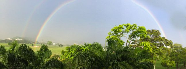 Rainbow view from our apartment.