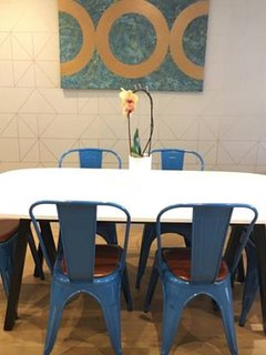 The dining table with fresh orchid
