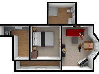 Floor plan of apartment 1 - Bedford House Torquay. One bedroom ground floor apartment.