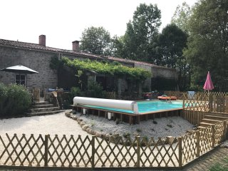 16th Century Rural 5 bed farmhouse with attached gite & pool in 1 acre garden