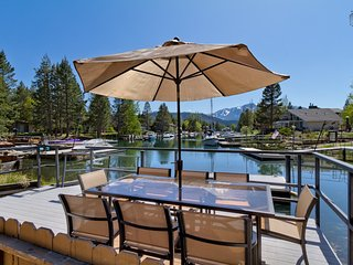 Waterfront home with hot tub and mountain views - Luxury Tahoe Keys Home