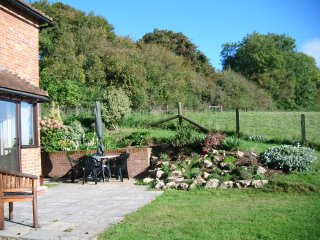 Cottage patio in October sunshine