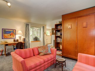 Seating area with Murphy Bed tucked away