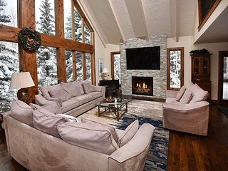 Enjoy this beautiful 5 bedroom Vail vacation home located near Lift 20 at the ba
