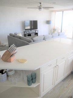 open, fully stocked kitchen