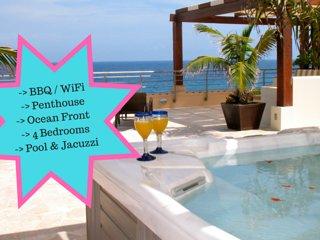 Riviera Maya Haciendas - Al Cielo Penthouse 4 beds - Ocean Front - Jacuzzi - BBQ