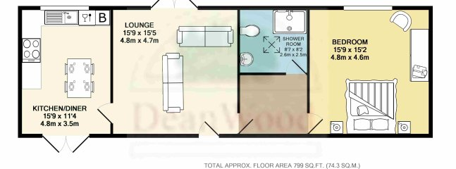 The Floor plan. One of the sofa's in the living area is a sofa bed.