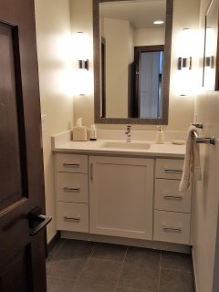 First floor powder room with separate shower and toilet
