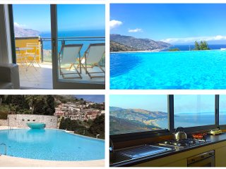PANORAMIC SEA VIEW FLAT Terrace Pool  Free Parking Taormina
