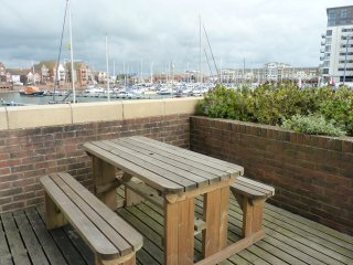 The Lock 2-bed, 2-bath Apt with marina and sea views on your private terrace