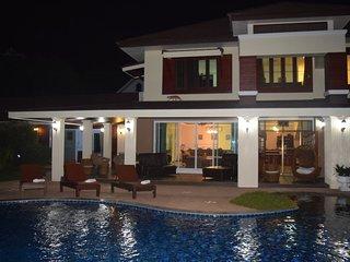 Villa at nightime