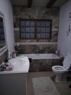 Bathroom with bath, shower, toilet and basin