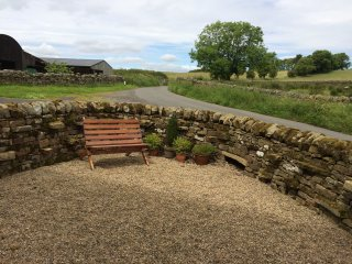 The view from the cottage to the minor road to Elsdon
