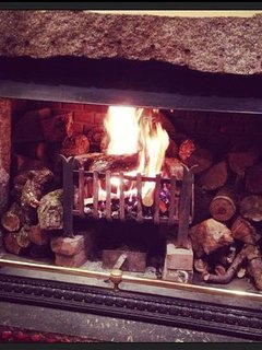 A roaring fire on a chilly evening