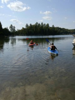 Guests have free access to canoes and kayaks. Lake Bernard is a very large lake.
