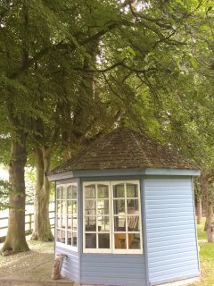 Breakfast served in the charming summer house in the orchard overlooking the fields
