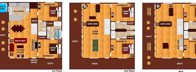 2 bedrooms, 2 bathroom and living space with decks on each level