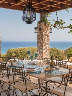 Dining in the veranda with sea view - Villa Russelia in Rhodes