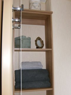 Storage Shelves in Shower Room