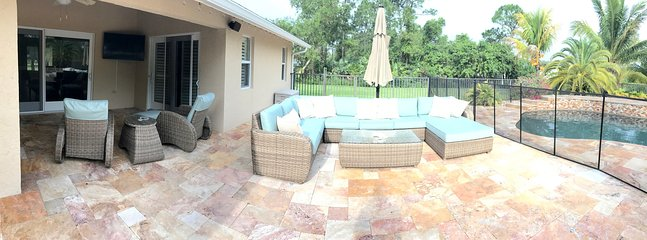 Patio lounge with TV and pool