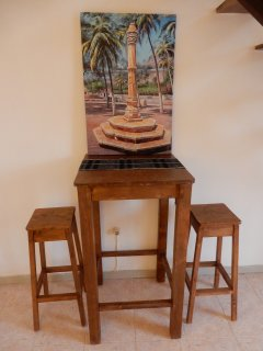 High table with bar stools