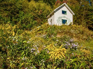 The two story private cottage close to Asheville is surrounded by exquisitely beautiful nature.