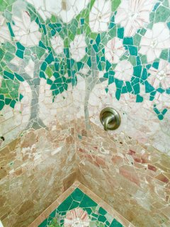 Italian marble mosaic 'Trees of Beauty' makes for a shower you'll never forget!