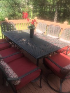 Newly renovated outdoor deck for grilling and outdoor entertainment.