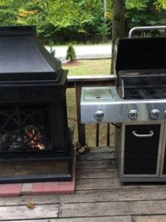 Outdoor open haard en gas grill