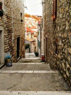 Explore the narrow, cobblestone streets of Sibenik.