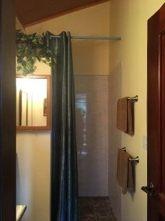 Large walk-in shower - additional mirror with lots of storage just to the left.