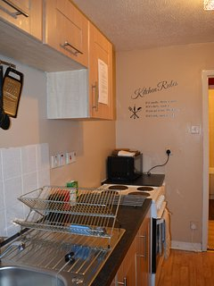 Fully equipped kitchen with dishwasher, fridge/freezer, oven, stove, toaster, kettle
