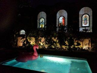 Back yard looking at church at night