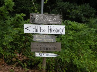 Follow signs to Hilltop Hideaway