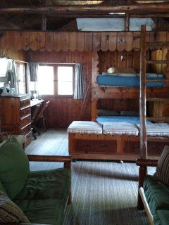 View of full bunk beds and loft-has view of lake