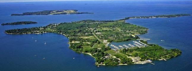 Ariel view of the Middle Bass Island.  Rudin Villa 24 is to the north of the State Park Marina.