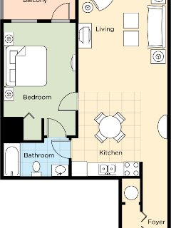 One bedroom studio layput with accommodations for 4 people