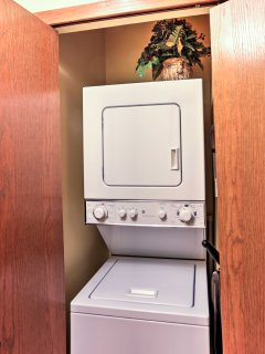 In-unit laundry machines allow you to keep your clothes fresh and clean while on vacation.