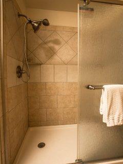 Large walk in tile shower