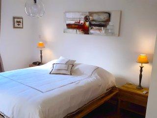 Chambre principale climatisée avec lit queen (160cm) et salle de bain privée