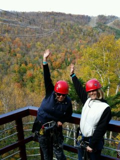 That's me on the left at Hunter Mt zip-line....It may look like I was having fun but I was scared...