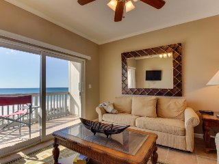 Oceanfront condo with shared pool and hot tub offers instant beach access!